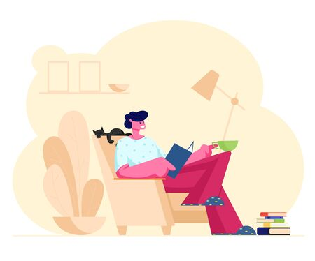 Reading Books Hobby. Young Man Sitting on Cozy Armchair at Home Read Interesting Book with Cat Sleeping beside Illusztráció
