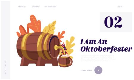 Oktoberfest Bavarian Festival Website Landing Page. Tiny Waitress in Traditional German Costume Dirndl Pouring Beer Illustration