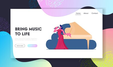 Classic Music Cultural Life Website Landing Page. Woman Singer Stand at Grand Piano Performing Opera