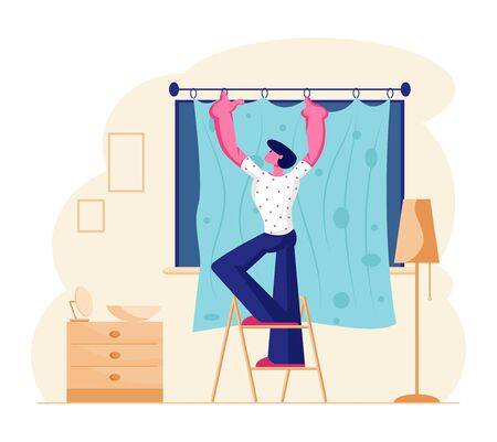 Young Man Stand on Ladder Hanging Curtains on Window in Living Room. Male Character Household Activity