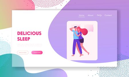 Sleeping Posture for Married Couple Website Landing Page. Woman Cuddling to Man Lying on Bed while Dreaming 版權商用圖片 - 129983850