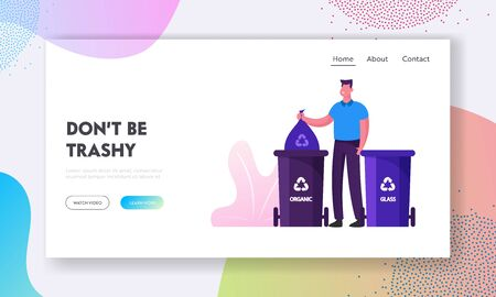 Recycling and Earth Pollution Website Landing Page. Man Throw Garbage into Special Containers with Recycle Sign