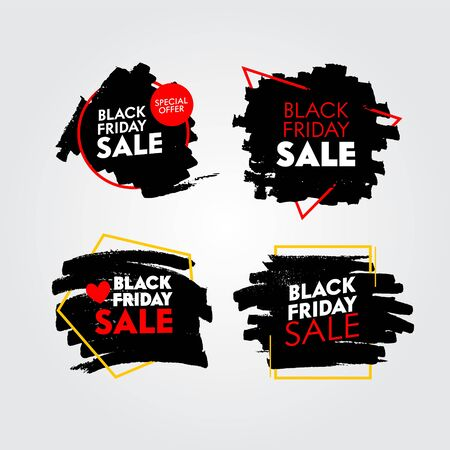 Set of Black Friday Sale Banners with Abstract Grungy Pattern. Promo Post Design Templates for Social Media Marketing