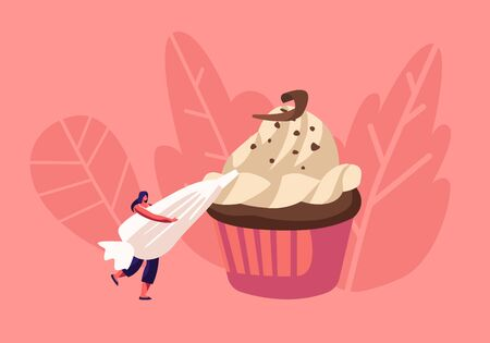 Bakery and Sweet Food Concept. Tiny Woman Decorate Huge Chocolate Cupcake with Cream in Pastry Bag. Muffin Treat Confectionery Dessert for Party or Fest Celebration. Cartoon Flat Vector Illustration