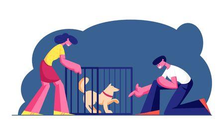 Par de sonriente joven y mujer adoptando mascota del refugio. Pound, centro de rehabilitación o adopción para animales callejeros y sin hogar. Chico estirar la mano al perro en la ilustración de Vector plano de dibujos animados de jaula