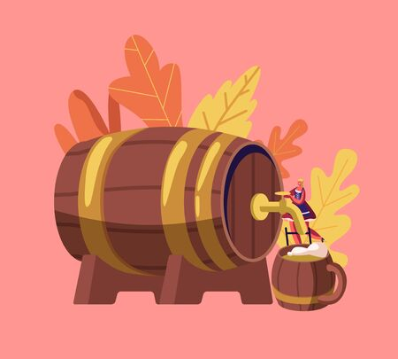 Oktoberfest Bavarian Festival Concept with Tiny Girl Waitress in Traditional German Costume Dirndl Pouring Beer from Huge Wooden Barrel to Mug. German Culture Holidays Cartoon Flat Vector Illustration