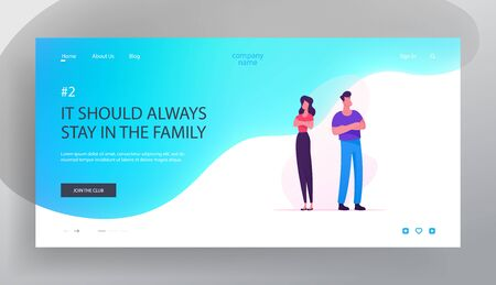 Family Disagreement Website Landing Page. Couple with Problems Standing with Crossed Arms Back to Back Avoid Looking at Each Other after Quarrel Web Page Banner. Cartoon Flat Vector Illustration