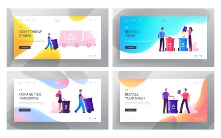 People Sorting Waste Website Landing Page Set. Characters Throw Bags with Garbage to Litter Bins for Separating Metal, Glass, E-waste and Organic Trash Web Page Banner Cartoon Flat Vector Illustration