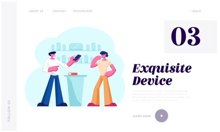 Gadgets Purchase Website Landing Page. Shop Assistant Showing Smartphone to Customer at Counter Desk. Man Buying New Cell Phone at Electronics Store Web Page Banner. Cartoon Flat Vector Illustration 向量圖像