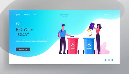 Environmental Protection Website Landing Page. People Throw Garbage to Recycle Litter Bins for Glass and Organic Waste. Sort Recycle and Segregation Web Page Banner. Cartoon Flat Vector Illustration