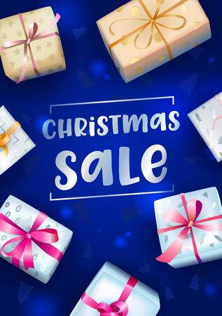 Christmas Sale Banner with Typography and Wrapped Festive Gift Boxes on Blue Blurred Background with Fir Tree Pattern. Shopping Discount Holidays Offer Decoration. Realistic 3d Vector Illustration Ilustração