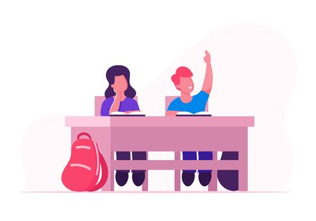 Happy School Kids Boy and Girl Sitting at Desk in Classroom Studying. Schoolboy Raising Hand to Answer Lesson in Class. Children Gaining Knowledges and Education. Cartoon Flat Vector Illustration