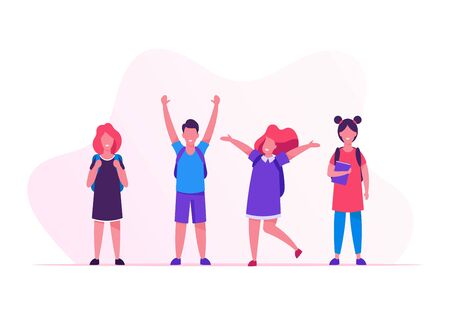 Kids Pupils with Backpacks Rejoice with Hands Up Standing in Row. Group of Children Come to School to Get Education. Happy Crowd of Classmates Girls and Boys in Line Cartoon Flat Vector Illustration Banco de Imagens - 129984480