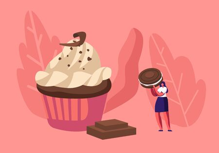Woman Decorate Festive Cupcake with Chocolate, Cream and Cookies. Tiny Female Character Decorating Huge Pie. Bakery Giant Dessert for Birthday or Event Celebration Cartoon Flat Vector Illustration