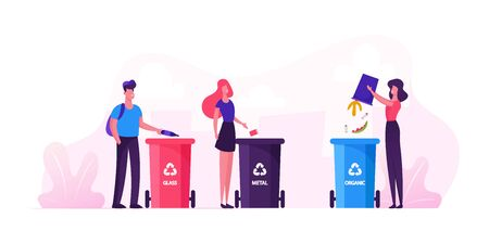 Group of People City Dwellers Throw Garbage to Recycle Litter Bins for Glass, Metal and Organic Waste. Environmental Protection Concept. Sort Recycle and Segregation Cartoon Flat Vector Illustration