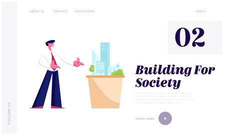 Building Engineering Construction Website Landing Page. Architect Engineer Presenting Model of House Mock Up Metropolis Architecture Design Projection Web Page Banner. Cartoon Flat Vector Illustration Illustration