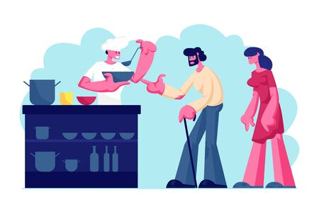 Night Shelter for Homeless, Emergency Housing, Temporary Residence for People, Bums and Beggars Without Home. Poor Man and Woman Stand in Queue for Getting Warm Food. Cartoon Flat Vector Illustration