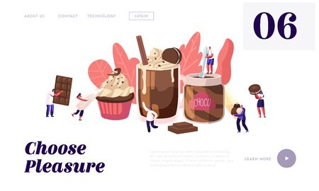 Chocolate Dessert Production Website Landing Page. Tiny Characters among Huge Choco Dishes Pastry Paste Cupcake Candy Cane Cocktail. Sweet Food Concept Web Page Banner Cartoon Flat Vector Illustration