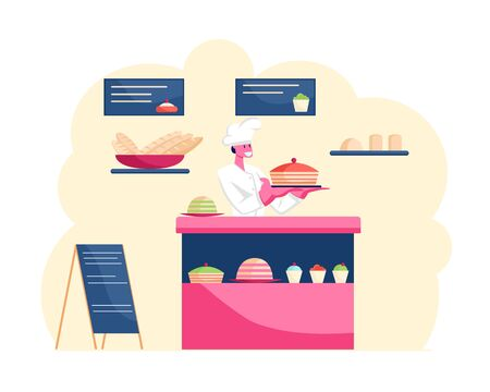 Baker Wearing White Uniform and Toque Stand at Showcase with Sweet Production Assortment Holding on Tray Big Pastry Cake in Bakery, Coffee Shop or Cafe Selling Bread Cartoon Flat Vector Illustration  イラスト・ベクター素材