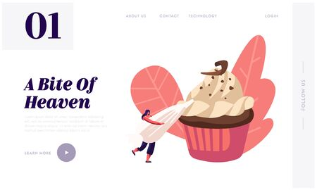 Bakery and Sweet Food Website Landing Page. Tiny Woman Decorate Huge Chocolate Cupcake with Cream in Pastry Bag. Muffin Treat Confectionery Dessert Web Page Banner. Cartoon Flat Vector Illustration Ilustração