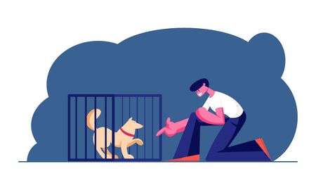 Guy Stretch Hand to Dog in Cage. Wildlife Protection and Rescue Man Adopting Pet from Shelter. Pound, Rehabilitation or Adoption Center for Stray and Homeless Animals. Cartoon Flat Vector Illustration