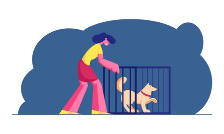 Smiling Young Woman Adopting Pet from Animal Shelter, Pound, Rehabilitation or Adoption Center for Stray and Homeless Dogs. Owners Friendship and Mammal Safety Help. Cartoon Flat Vector Illustration