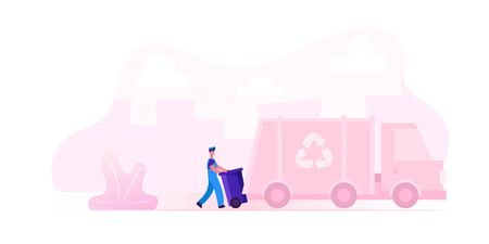 Municipal Recycling Service Worker Wearing Uniform Loading Litter Bin to Garbage Truck for Transportation on Recycle Utilization Factory. Cleaning Company Employee Cartoon Flat Vector Illustration