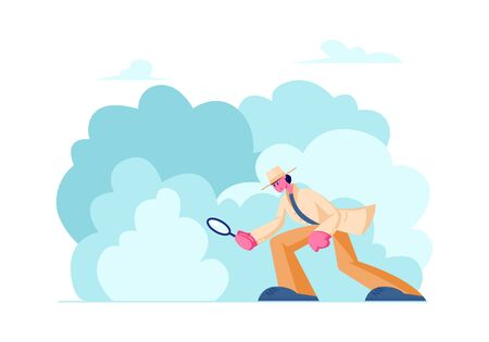 Private Investigator in Classic Hat and Cloak Looking through Magnifier Glass Searching Evidence on Ground for Robbery Solving. Police Detective Investigating Crime. Cartoon Flat Vector Illustration 向量圖像