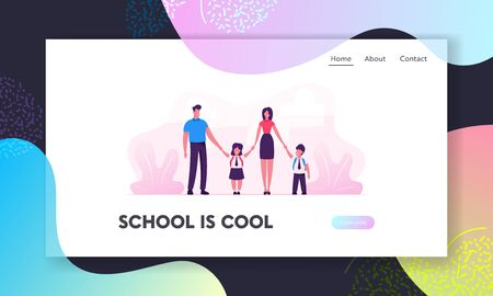 Parents and School Kids Website Landing Page. Mother and Father Leading their Children to College. Students in Uniform Holding Hands. Back to School Web Page Banner. Cartoon Flat Vector Illustration