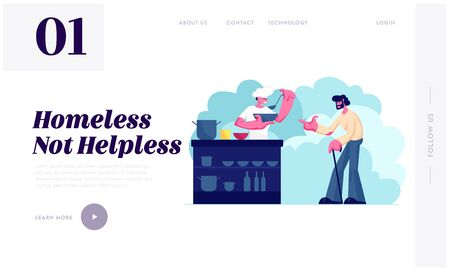 Volunteer Serving Food to Homeless People Website Landing Page. Man Chief Pouring Warm Food to Plate for Beggar Man. Night Shelter Emergency Housing Web Page Banner. Cartoon Flat Vector Illustration