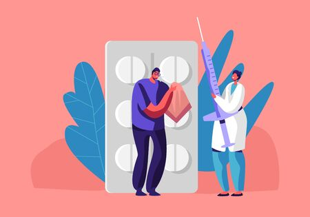 Illness or Sickness Concept with Man Blow his Nose to Handkerchief Stand at Huge Pills Blister, Female Doctor Character Holding Syringe with Medcine for Injection. Cartoon Flat Vector Illustration