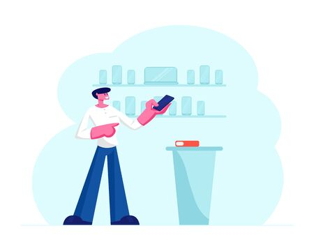 Sales Manager in Mobile Phone Shop Presenting to Customer Latest Smartphone Model Standing Near Modern Cash Desk at Electronics Store. Retail Business Gadgets Purchase Cartoon Flat Vector Illustration