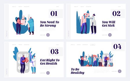 Illness Treatment and Medical Help Website Landing Page Set. Patients Visiting Clinic or Hospital for Doctor Appointment. Sick People Health Care Web Page Banner. Cartoon Flat Vector Illustration
