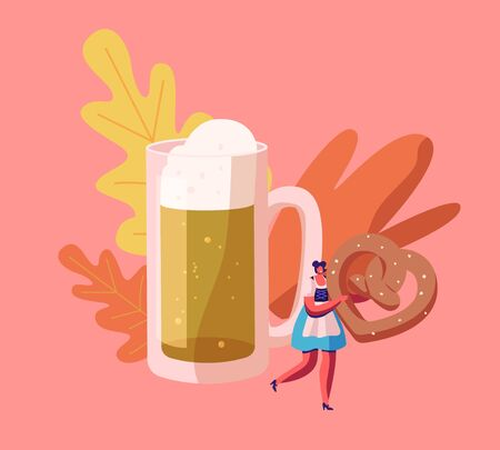 Oktoberfest Festival Concept with Beautiful Woman Waitress Wearing Traditional Bavarian Dress Dirndl Holding Huge Pretzel in Hands near Huge Foam Beer Mug, Holidays. Cartoon Flat Vector Illustration