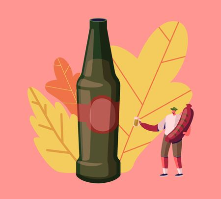 Oktoberfest Fest Celebration. Man Tourist Holding Huge Bavarian Sausage Stand near Bottle with Colorful Fallen Leaves around. Celebrating Beer Festival in Germany. Cartoon Flat Vector Illustration