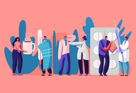 Patients Men and Women Visiting Clinic or Hospital for Doctor Appointment. Illness, Health Care Concept. Sick People Getting Treatment with Medicine and Hot Drinking. Cartoon Flat Vector Illustration Illustration