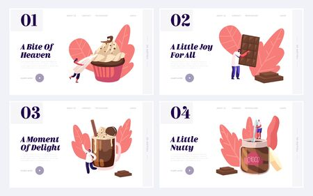 People Eating Sweet Chocolate Food Website Landing Page Set. Tiny Characters among Huge Choco Dessert Dishes in Confectionery or Bakery Shop Concept Web Page Banner. Cartoon Flat Vector Illustration  イラスト・ベクター素材