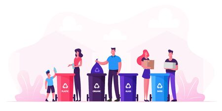 Family With Kids Collect Litter Bring it to Recycle Bins, People Recycling Garbage in Different Containers for Separation to Reduce Environment Pollution. Earth Day Cartoon Flat Vector Illustration