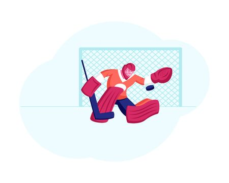 Goalkeeper in Sports Equipment Catch Puck at Hockey Competition Game Defend Attacked Gate. Male Character Engage Sport, Athlete Player Take Part in Championship. Cartoon Flat Vector Illustration 向量圖像