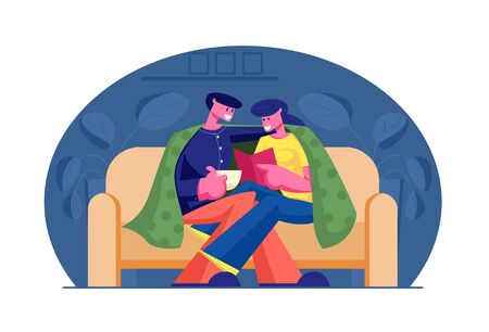 Young Loving Couple Spend Time at Home Sitting on Couch Together under Plaid Reading Book and Drinking Beverage on Weekend Evening. Love Leisure Sparetime, Day Off. Cartoon Flat Vector Illustration Standard-Bild - 129980385