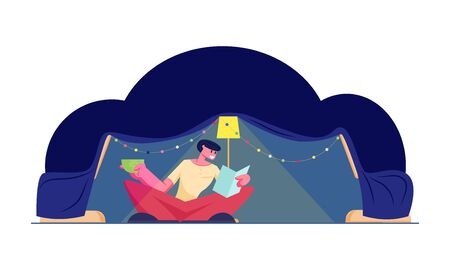 Happy Man Sitting at Tent with Glowing Lamp and Colorful Christmas Garland Reading Book and Drinking Beverage at Cozy Weekend Evening at Home. Holidays Spare Time Cartoon Flat Vector Illustration