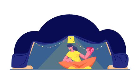 Young Woman Having Leisure and Fun at Home Sitting in Comfortable Child Tent with Lamp and Christmas Garland Drinking Coffee or Tea. Happy Vacation or Holidays Leisure Cartoon Flat Vector Illustration