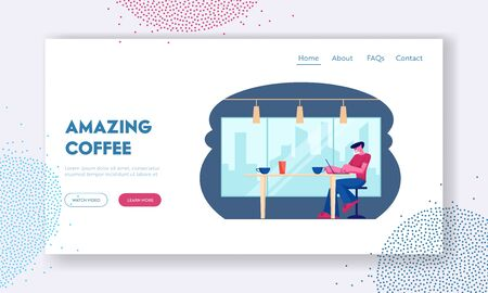 Outdoor Relax Website Landing Page. Young Male Freelancer Sitting Front Open Laptop Computer in Cafe. Man Work on Net-book in Comfortable Coffee Shop Web Page Banner. Cartoon Flat Vector Illustration