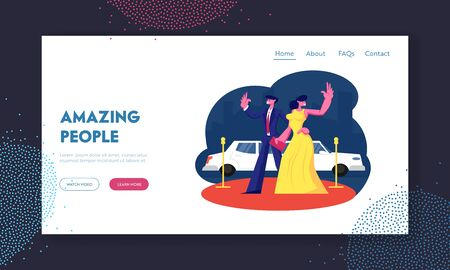 Actors Characters on Award Ceremony Website Landing Page. Famous Couple on Red Carpet Stand at Limousine. Woman and Man Luxury Celebrity Lifestyle Web Page Banner. Cartoon Flat Vector Illustration