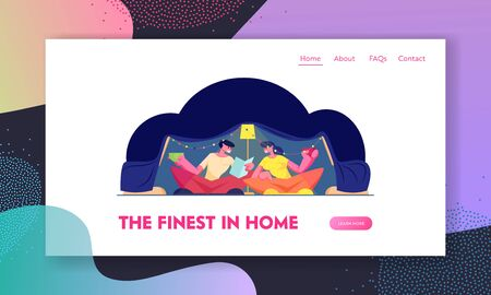 Romantic Cozy Family Evening Sparetime Website Landing Page. Happy Loving Couple Sitting at Home in Childrens Tent Reading Book and Drinking Beverage Web Page Banner. Cartoon Flat Vector Illustration Illustration