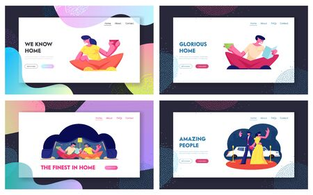 People Spend Time at Home Reading Books, Drinking Beverages, Red Carpet Ceremony Website Landing Page Set. Happy Male and Female Characters Leisure Web Page Banner. Cartoon Flat Vector Illustration Stock Illustratie