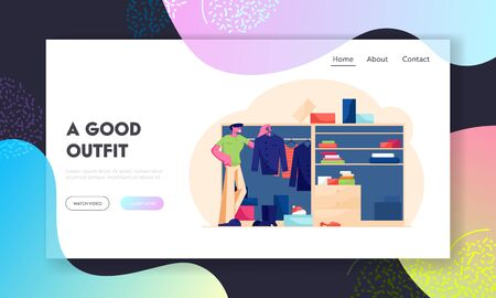 Household Organize System Website Landing Page. Young Handsome Man Stand at Home Wardrobe Looking at Hanging Clothes Deciding what Shirt Wear to Job Web Page Banner. Cartoon Flat Vector Illustration 向量圖像