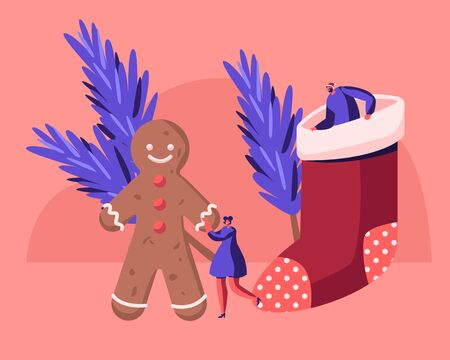 Xmas Symbols Gingerbread Man, Fir-tree Branches and Sock for Sweets. Tiny Man and Woman Celebrate Christmas and New Year Holidays. Festive Winter Season Celebration. Cartoon Flat Vector Illustration