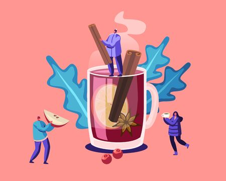 People and Hot Drink Concept. Tiny Male Female Characters in Warm Winter Clothes Stand at Huge Mug with Mulled Wine Holding Ingredients as Apple Slice, Vanilla Sticks Cartoon Flat Vector Illustration