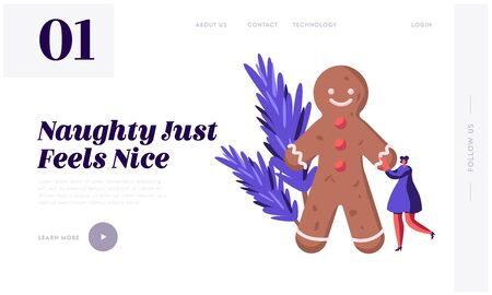 Festive Winter Season Celebration Website Landing Page. Xmas Symbols Gingerbread Man, Fir-tree Branches Girl Celebrate Christmas and New Year Holidays Web Page Banner. Cartoon Flat Vector Illustration